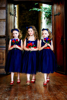 Flower girls enter the ceremony at Château Rhianfa Anglesey